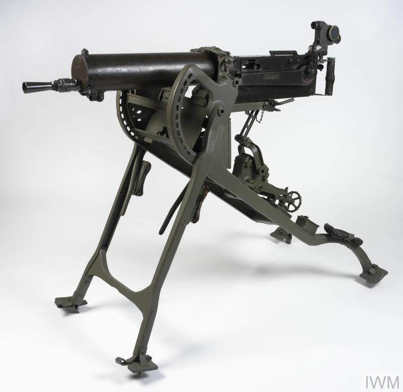 The standard German machine-gun of the First World War, the MG08 was a water-cooled weapon employing the Maxim system of operation (see FIR 8095). The German Army was well equipped with machine-guns and accorded its machine-gunners an elite status. Sophisticated optical sights for the guns were issued as standard.