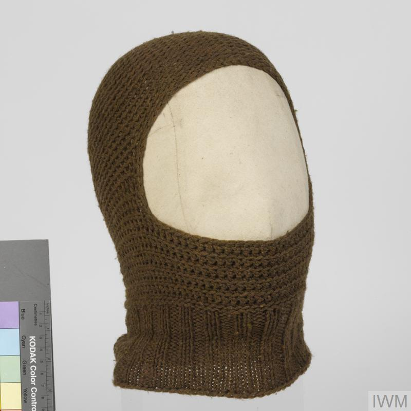Balaclava Helmet, knitted khaki wool