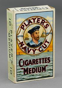 cigarette packet ('Players Navy Cut')