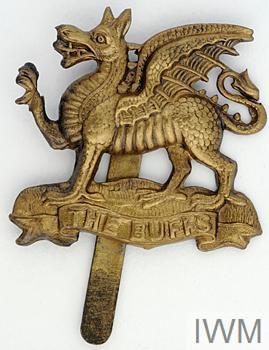 BRITISH ARMY WWII TYPE METAL CAP BADGE BUFFS EAST KENT REGIMENT