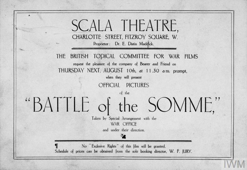 Invitation card to a screening of the film 'Battle of the Somme', at the Scala Theatre, Charlotte Street, London, August 1916.