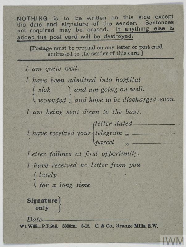 Postcard How To Build Global Community: BRITISH FIELD SERVICE POSTCARD, FIRST WORLD WAR