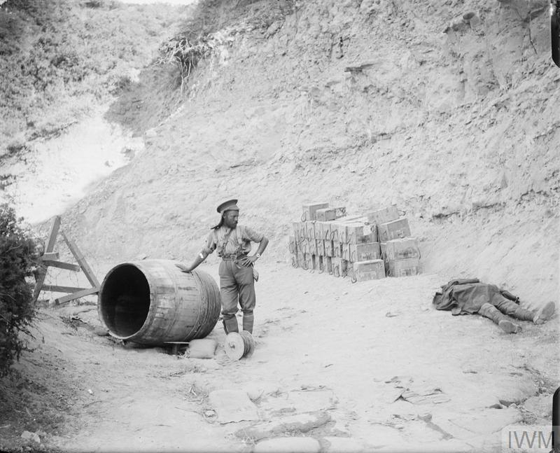 A British soldier looking at a dead comrade in a gully at Gallipoli, 29 June 1915