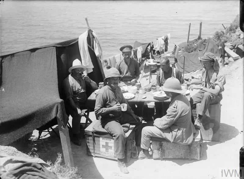 Officers of a Field Ambulance at their mess, Gully Beach