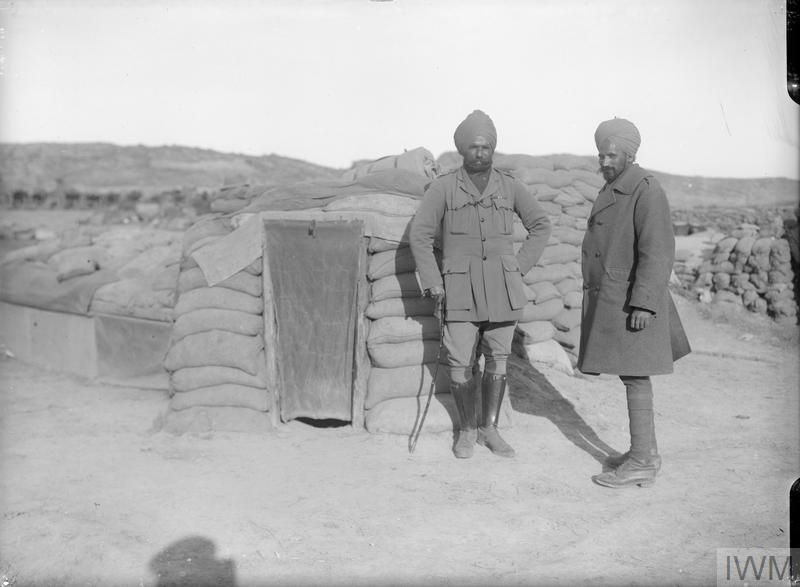 Colonel Kishan Singh Sirdar Bahadur and Dr Sampuran Singh, two Indian officers of an Indian mule company who got all the mules and their carts off during the Suvla Bay evacuation.