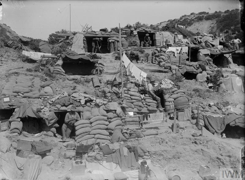 Australian and New Zeland troops at their dug-outs at Gaba Tepe.