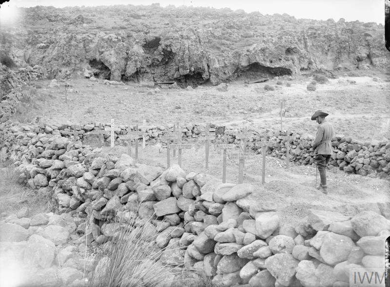 An Australian officer visiting a small war cemetery at Suvla Bay.
