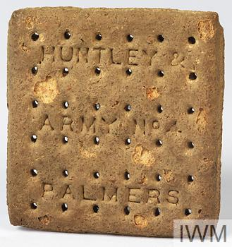 British Army issue ration biscuit made by Huntley and Palmers
