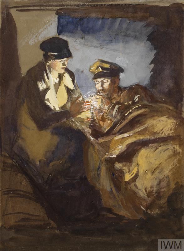 a soldier is lying propped on his elbow in an enclosed space, while a female figure in uniform lights his cigarette.
