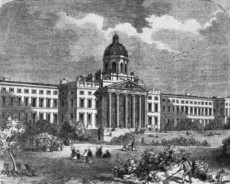 A copy of a 19th century print showing the exterior of the Bethlem Royal Hospital at Lambeth Road, London. The building subsequently became the home of the Imperial War Museum in 1936. The picture shows the two large wings to either side of the main building, which were demolished to form the space now occupied by the Geraldine Mary Harmsworth Park.