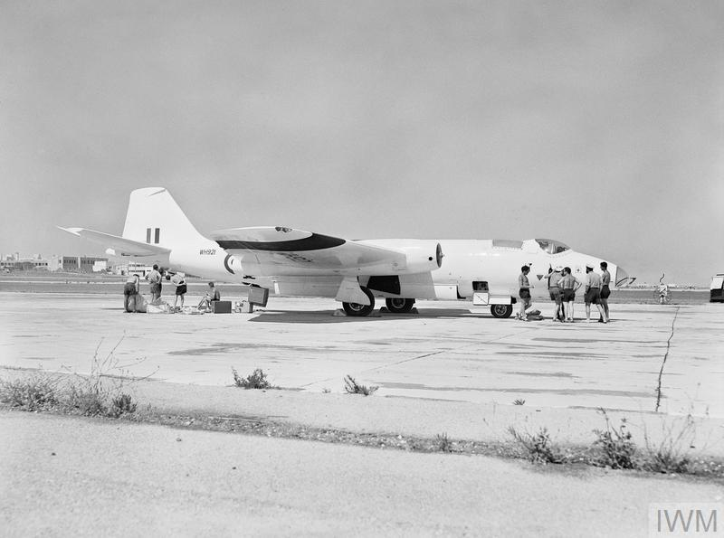 The first Canberra U Mk 10 jet plane, which will be used as a pilotless drone aircraft in the Seaslug guided missile trials from HMS GIRDLE NESS later in 1961.