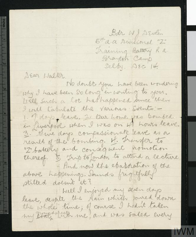 Private Papers of W Bratley