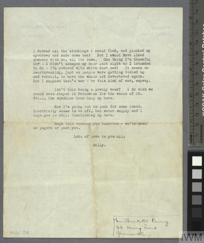 London Blitz Letter, circa 1941