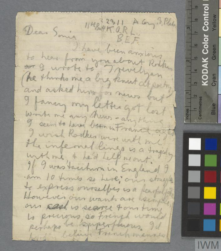 Letter containing the Poem 'In the Trenches,' from Isaac Rosenberg, 1916.