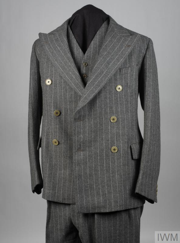 Jacket; double-breasted grey pin-striped jacket of civilian style.