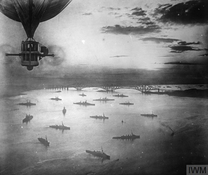 An aerial view of a portion of the Grand Fleet at anchor in the Firth of Forth, taken from the British Airship R. 9.