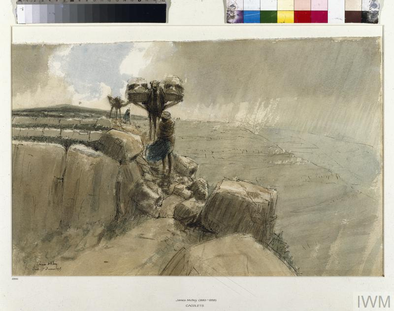 Cacolets: Wounded being Conveyed over the Hill of Judaea, 1917, by James McBey