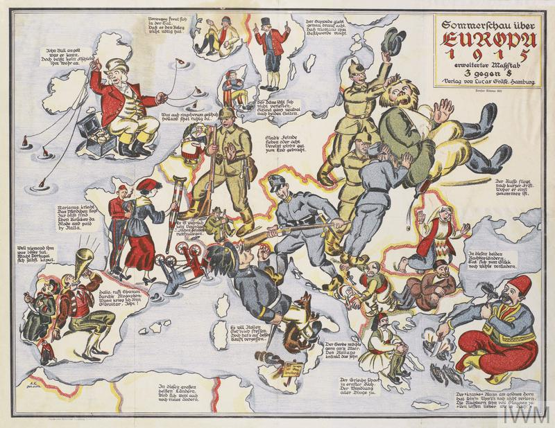 A map of Europe, with each country represented by a depiction of their soldiers or national personifications.