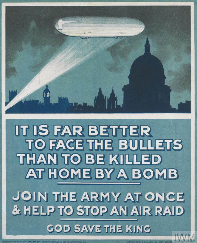 First World War recruitment poster depicting a German Zeppelin over London