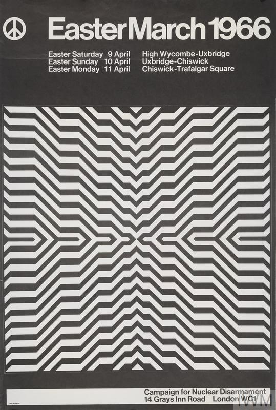 Black and White grid image, after Bridget Riley, using lines in a geometric fashion to create a vast geometric pattern. CND logo in top left corner Text: Easter March 1966. Campaign for Nuclear Disarmament 14 Grays Inn Road London WC1.