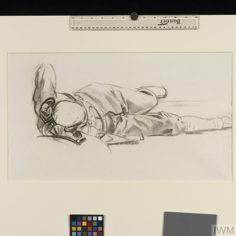 Study for 'Gassed' Reclining soldier with bandaged head
