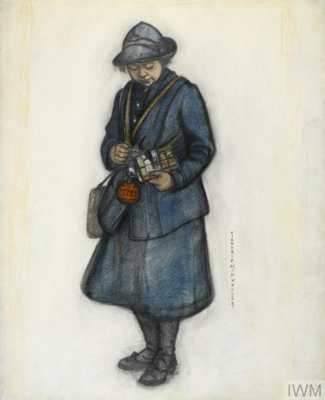 A full length drawing of a woman bus conductor. She wears a blue uniform and hat, and carries the distinctive bus conductor's bags with leather straps crossing her chest.