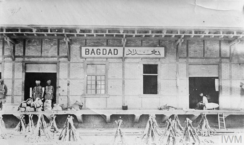 Indian soldiers guarding Baghdad railway station shortly after the city's capture in March 1917.