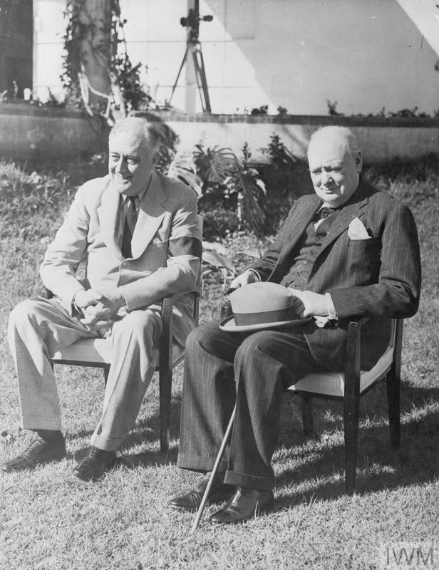 (© IWM A 14124) President Roosevelt and Prime Minister Churchill at the Villa in Casablanca where the conference were held