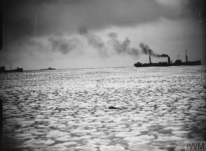 Black and white photograph of vessels of an Arctic Convoy
