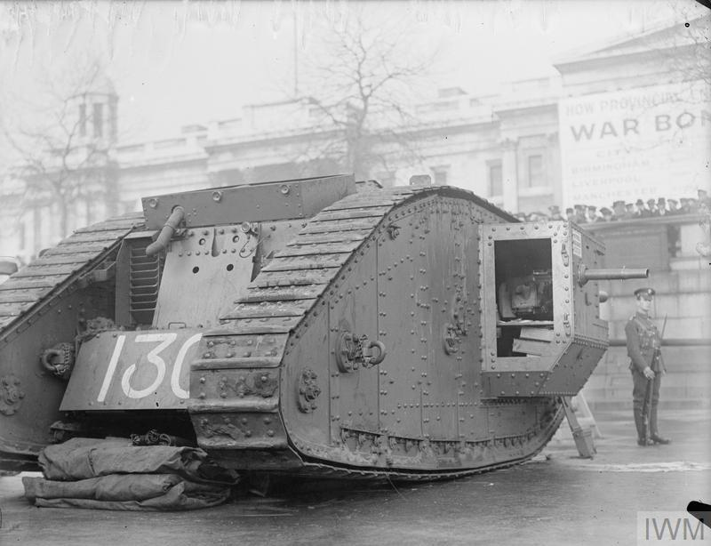 A tank on show in Trafalgar Square as part of the war bonds appeal, November-December 1917.