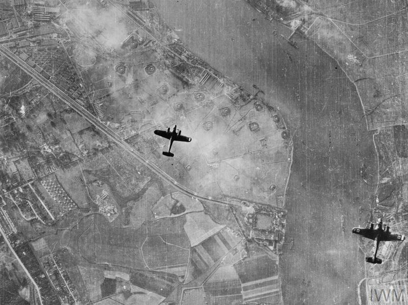 Two Dornier Do 217 bombers flying over the Plumstead sewer bank, Crossness pumping station and the Royal Arsenal butts on Saturday 7 September 1940, the first day of the sustained Blitz on London.