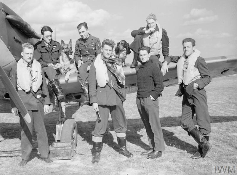 Pilots of No. 19 and No. 616 Squadrons pose alongside a Spitfire at Duxford. Sitting on wing (left to right) are Brian Lane, George Unwin and Francis Brinsden (with Flash the Alsation and Rangy the Spaniel). Front row (left to right) are Bernard Jennings, Colin McFie, Howard Burton and Philip Leckman.