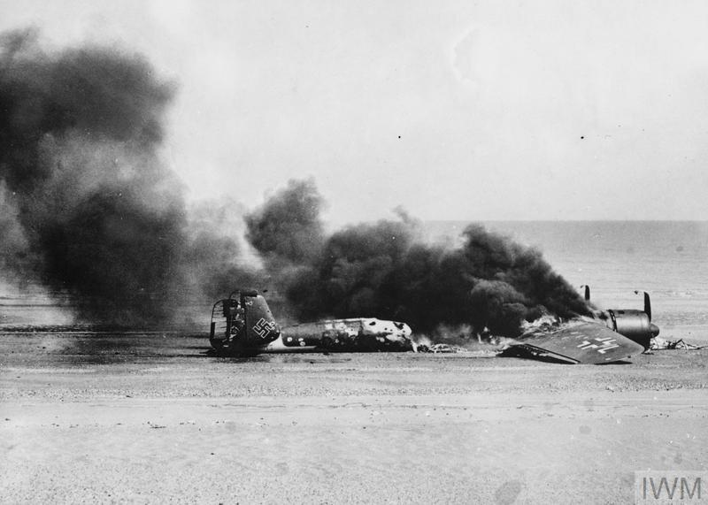 Dornier Do 17Z-3 W.Nr. 2669 of 4./KG3 burning itself out after crash-landing at Princes Golf Club on Sandwich Flats, near Ramsgate, following an attack on Hornchurch, 31 August 1940.