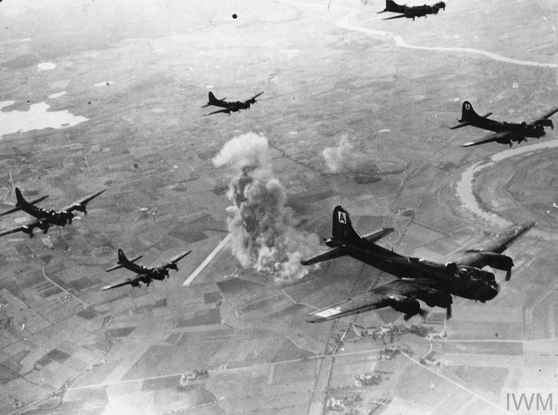 B-17s of the 94th Bomb Group attacking the Focke-Wulf aircraft factory at Marienburg near Danzig, 9 October 1944.