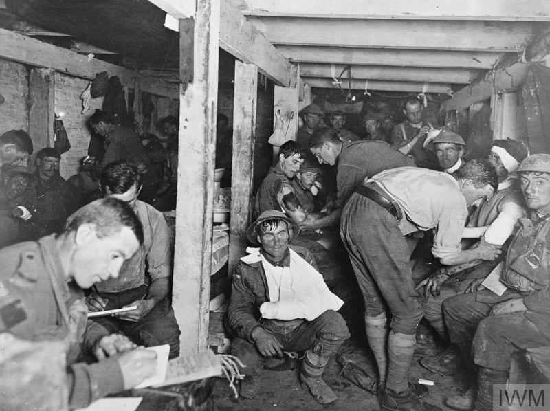 The interior of an Australian advanced dressing station on the Menin Road during the Third Battle of Ypres (Passchendaele), 20 September 1917.