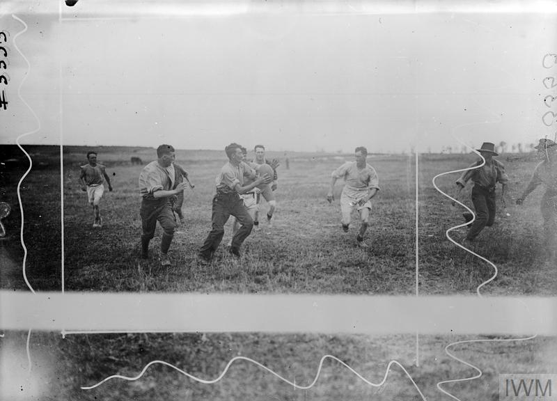Teams from the 59th Battalion, Australian Army playing rugby during a brief rest from fighting at Barleux in France