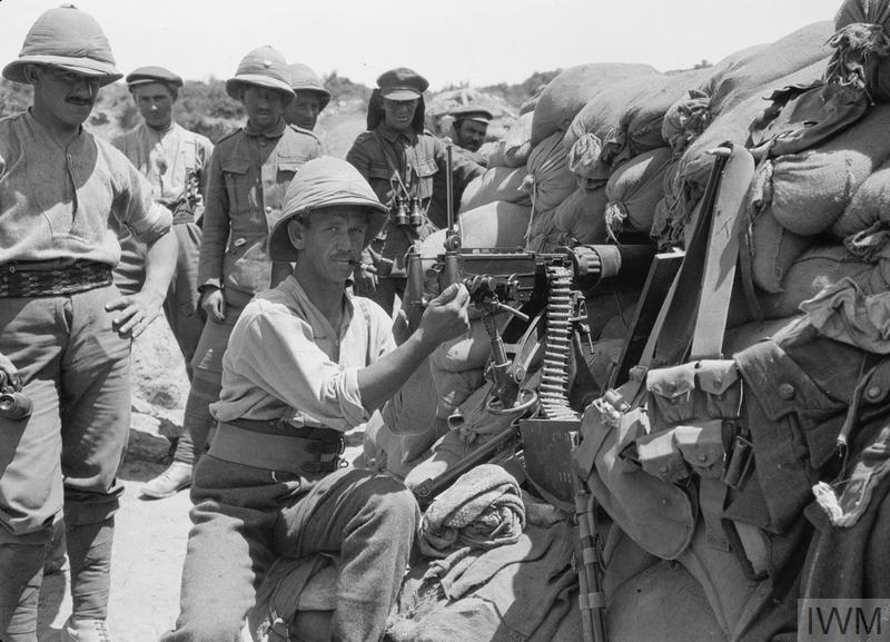 Vickers machine gun post in 29th Division's line at Cape Helles, Gallipoli.