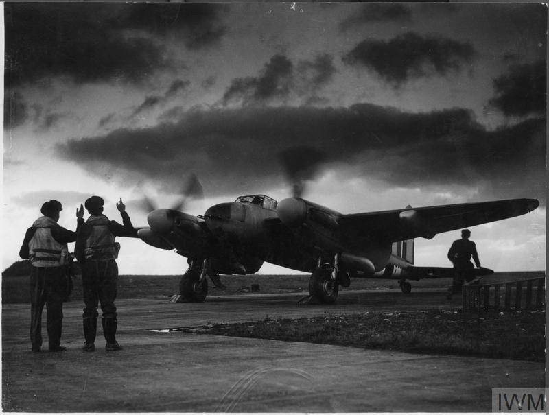 A Mosquito Mk VI about to take off on a night intruder operation over enemy territory, 1944.
