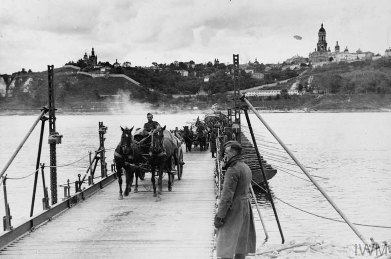 German horse-drawn transport crosses a pontoon bridge over the Dnieper at Smolensk.