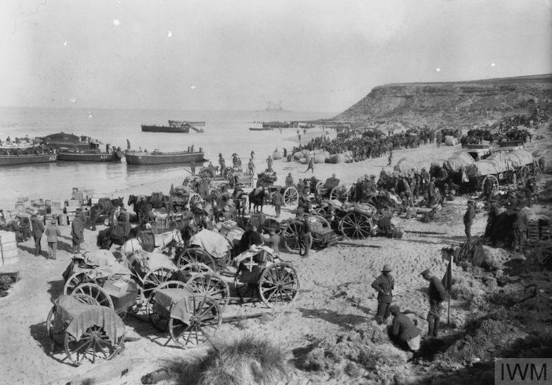 "Troops and transport from 29th Division at ""Lancashire Landing""on 'W' Beach, Cape Helles, Gallipoli, 27 April 1915."