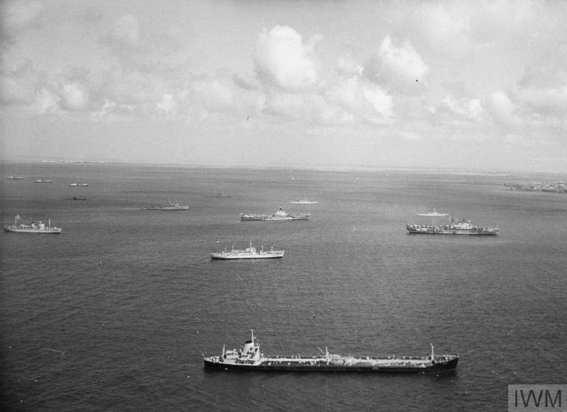 Vesels of the Royal Navy and Royal Fleet Auxiliary in the Gulf of Aden as part of Task Force 945 during the British withdrawal from the Aden coloney. Seen are: HMS EAGLE, HMS ALBION (possibly BULWARK), HMS FEARLESS, HMS AURIGA and HMS HAMPSHIRE.