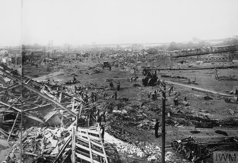 One half of a panoramic view taken on 4 July 1918 of the destruction caused by an explosion three days earlier in the Amatol Mixing House at the National Shell Filling Factory at Chilwell, Nottinghamshire, in which 134 people died.