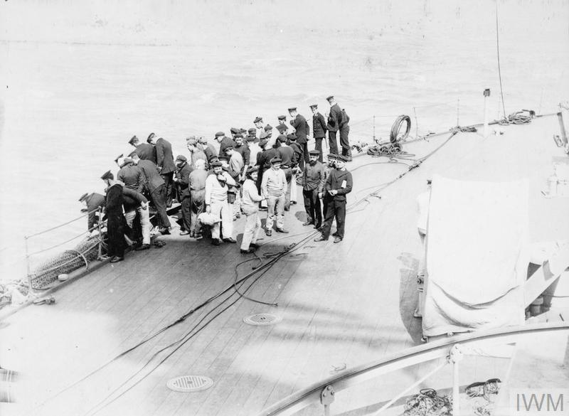 Survivors from the French battleship Bouvet coming on board HMS AGAMEMNON on 18 March 1915 during the Anglo-French naval attempt to force the Dardanelles. The Bouvet struck a Turkish mine and sank with the loss of over 600 of her crew.