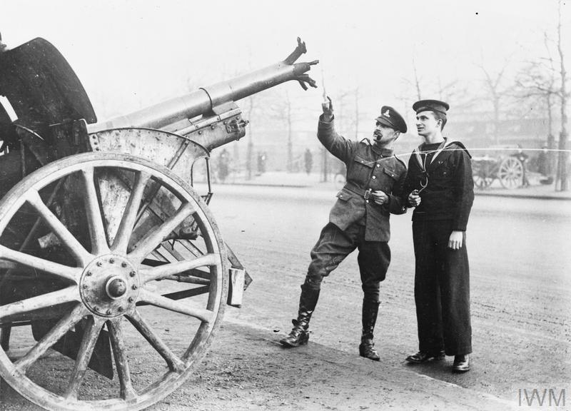 A captured German 7.7cm Feldkanone 16 field artillery gun with destroyed barrel exhibited in the Mall, London.