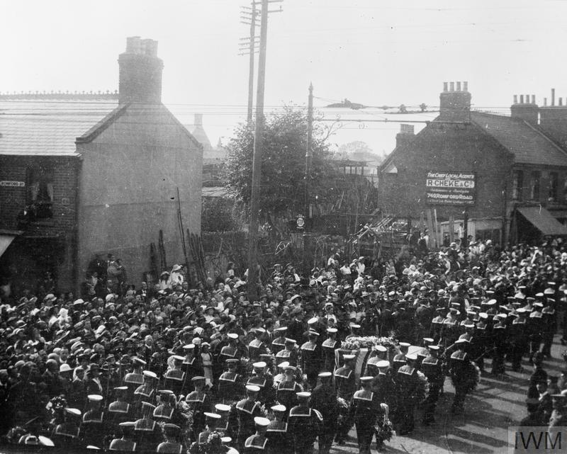 Funeral procession of Jack Cornwell VC passing along Romford Road, London, before being buried at Manor Park, Essex, c. June 1916.