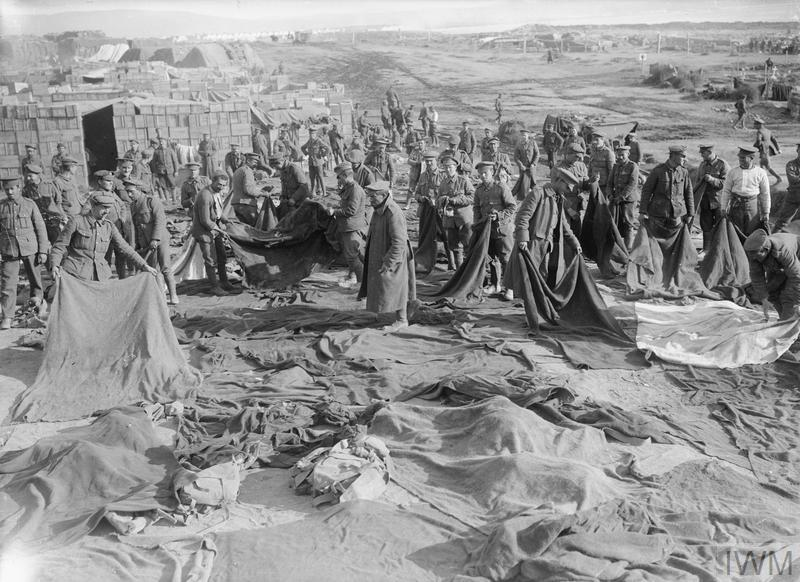 British troops drying blankets at Suvla Bay after the storm at the end of November 1915