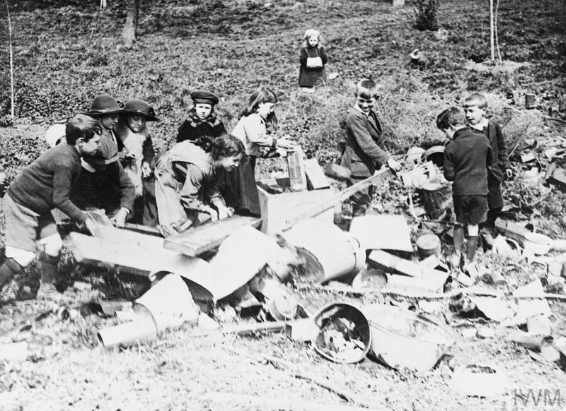 Children salvaging valuable materials at a local depot, Buckinghamshire.