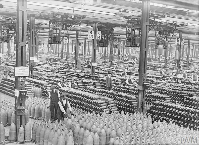 Stacks of shells in the National Shell Filling Factory, Chilwell. Around 21 August, 1917.