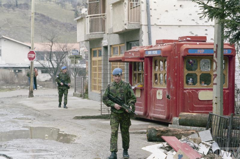Soldiers of the 1st battalion Royal Welsh Fusiliers on partol in Gornji Vakuf.