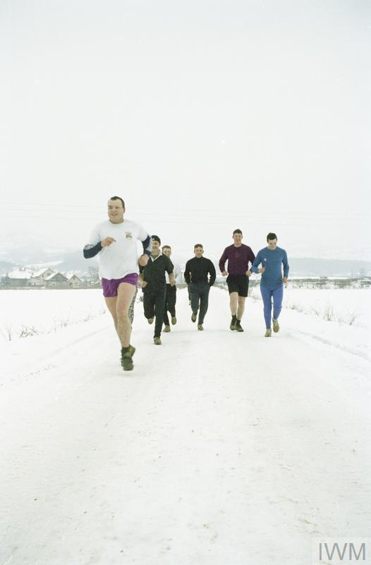 Member of the Royal Engineers on a Boxing Day fun run in Vitez.
